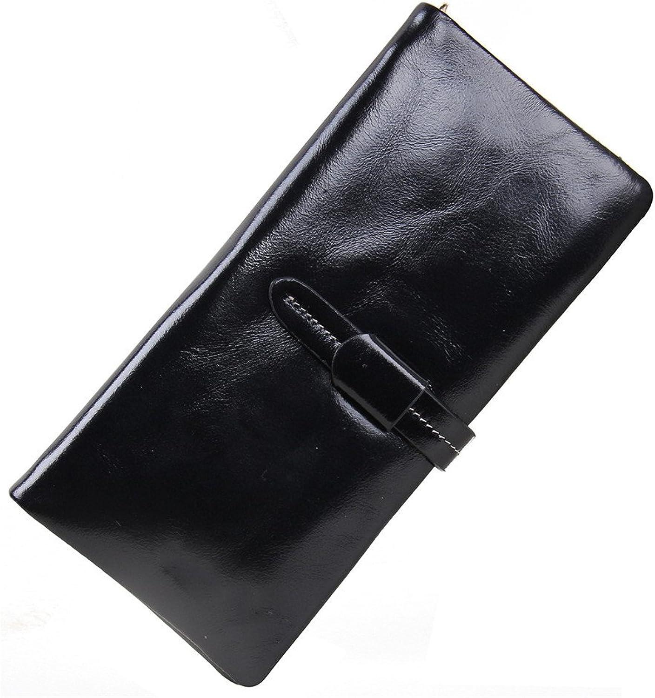 Xiaoqin Frauen weichen Echtleder Trifold Lange Brieftasche Ultra-dünne große Kapazität Öl Wachs Leder Clutch Geldbörse Frauen-Karten-Kupplungs-Halter-Lange Geldbörsen (Farbe   schwarz) B07HFVC4HL