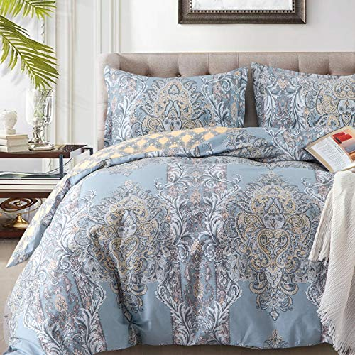 Duvet Covers Sets Cotton Queen Luxury Paisley Damask Medallion -1000TC Egyptian Cotton Duvet Cover- Reversible Percale Weave Comforter Cover Set-3pcs Soft Breathable Bedding(Queen,Light Blue Floral)…