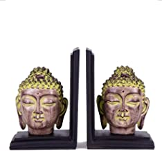 Buddha Statue Bookends Buddha Head Book by Resin Crafts Home Study Decorations(2 Pack)