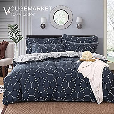 Vougemarket 3 Piece Duvet Cover Set (Queen,King) Duvet Cover with 2 Pillow Shams - Hotel Quality 100% Cotton - Luxurious, Comfortable, Breathable, Soft and Extremely Durable (Queen, Space)