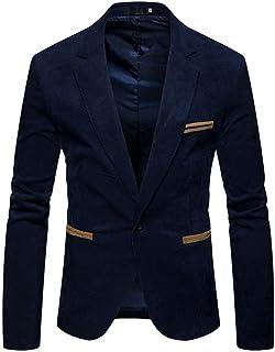 Mens Soft Corduroy Blazer Casual Slim Fit Suit Jackets Vintage Retro Style Smart Tailored One Button Tuxedo Suit Blazer Ja...