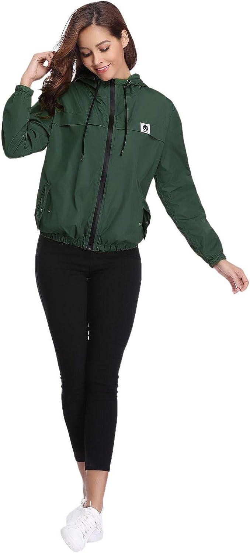 Aibrou Damen Leichte Regenjacke wasserdicht Kurze Windjacke mit Kapuze für den Außenbereich Dunkelgr¨¹n