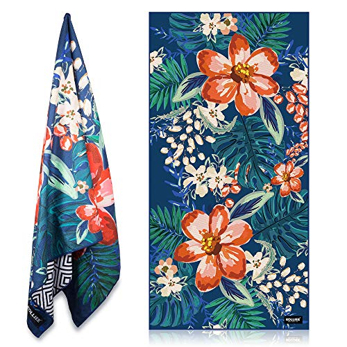 KOLLIEE Sand Free Beach Towels Flowers Portable Colorful Compact Beach Towels Absorbent Pool Towels Sand Proof Beach Towels
