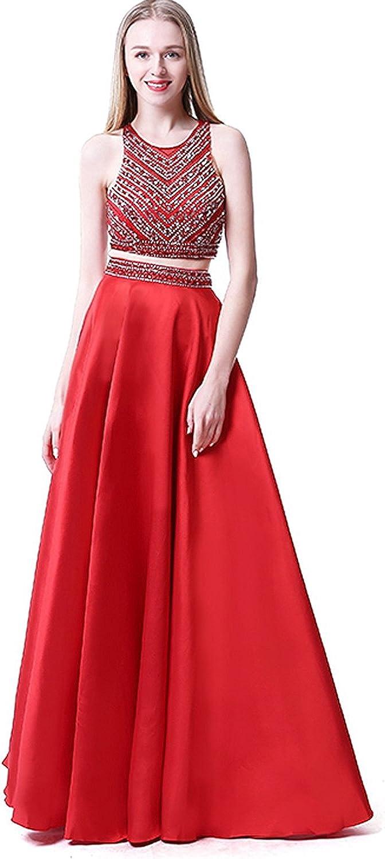 Mingxuerong Two Pieces A Line Long Prom Dresses Beading Jewel Evening Dress Zipper Back plus