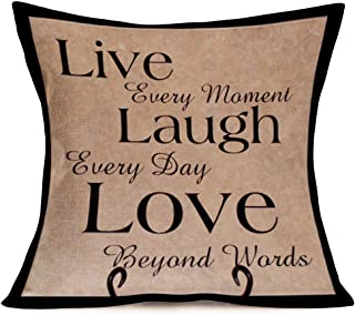 """Fukeen Cotton Linen Standard Retro Throw Pillow Case Cover Live Laugh Love Motivational Quotes Print, Home Decor Cushion Covers with Words for Book Lover Couch 18"""" x 18"""""""