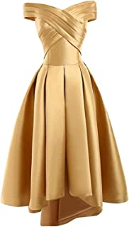 Women's Off Shoulder Gold Satin Prom Dresses Long Plus Size High Low Homecoming Dress