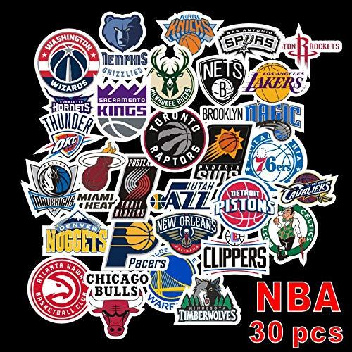 YCYY 30 Pegatinas del Equipo de la NBA, monopatín con Personalidad, Maleta, Caja de Palanca, Pegatina Impermeable para Coche, Pegatinas de Graffiti