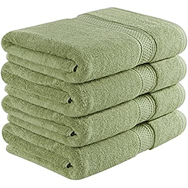 Utopia Towels 700 GSM Premium Green Bath Towels Set - Pack of 4 - (27 x 54 Inches) - 100% Ring-Spun Cotton Towels for Home, Hotel and Spa – Green Towels Set with Maximum Softness and High Absorbency