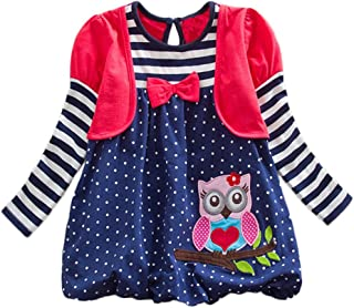 DXTON Little Girl Children Kid Long Sleeve Flower Cotton Dresses