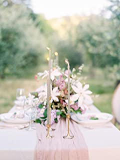 Greenerwil 35x120 Inch Blush Cotton Gauze Table Runner Blush Pink Cheesecloth Table Runner Tablecloth Farmhouse Boho Vintage Wedding Baby Shower Party Table Decoration