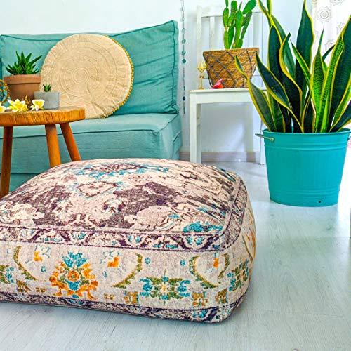 Mandala Life ART Funda de cojín de Piso Bohemian Rug - Cuadrada 60x20 cm - Puf de decoración de habitación Artesanal de Lujo para meditación, Yoga y Boho Chic Funda de Almohada de Piso para Asientos