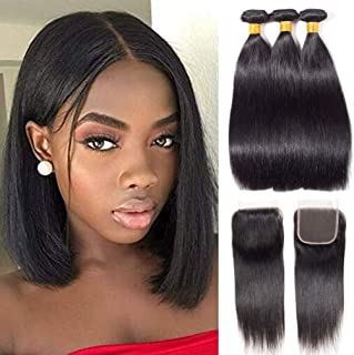 10A Straight Bundles With Closure Brazilian Human Hair Bundles With Closure 100% Unprocessed Virgin Straight Weave With Free Part Lace Closure Natural Color (8 10 12 + 8 Inch Closure)