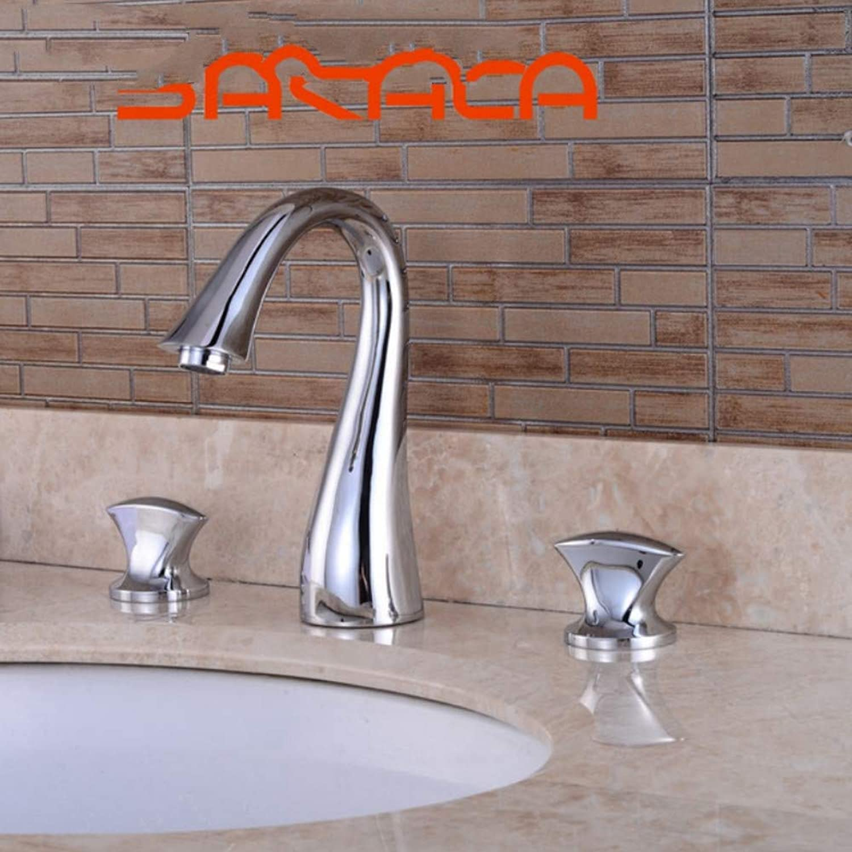 Lddpl Tap 3 Pcs Set Faucet Bathroom Mixer Deck Mounted Sink Tap Basin Faucet Set Chrome Black Nickle golden Finish Mixer Tap Faucet