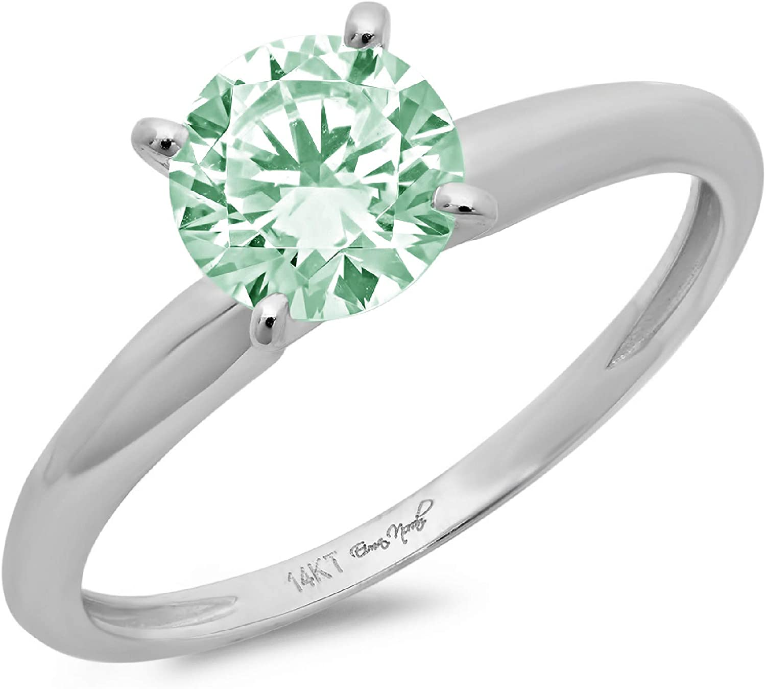 3.0 ct Brilliant Round Cut Solitaire Davidsonite Mint Green Simulated Diamond CZ Ideal VVS1 D 4-Prong Engagement Wedding Bridal Promise Anniversary Ring in Solid Real 14k White Gold for Women