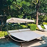 Abba Patio Chaise Lounge with Adjustable Canopy and Headrest Pillow for 2 Person, Outdoor Sunbed Wheeled Hammock Bed for Sun Room, Garden, Poolside, Beige, 6.5'L x 6.5'W