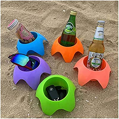 Beach Drink Holder Accessories for Vacation - Beach Stuff Gift Picnic Supplies Beach Coasters Drink Cup Holders(5 Pack)