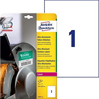 Avery L7917-10 Etichette Ultra Resistenti Polietilene Flessibile, 10 ff, 210 x 297 mm, Bianco