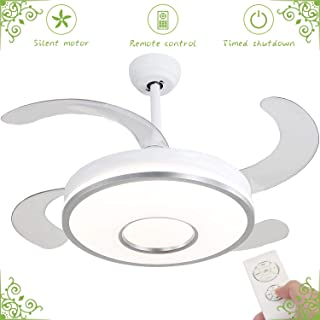 Ceiling Fan with Light, Retractable Invisible Fan Chandelier, with Remote Control 3 Color Adjustment 36w 42in LED Fan Chandelier Silver