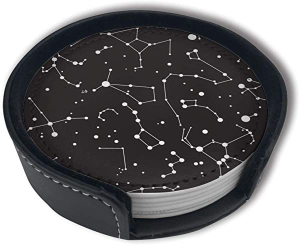 HBLSHISHUAIGE Constellation Sky Coasters With Holder Set Round Mugs And Cups Mat Pad For Drinks Suitable For Home And Kitchen 6PCS