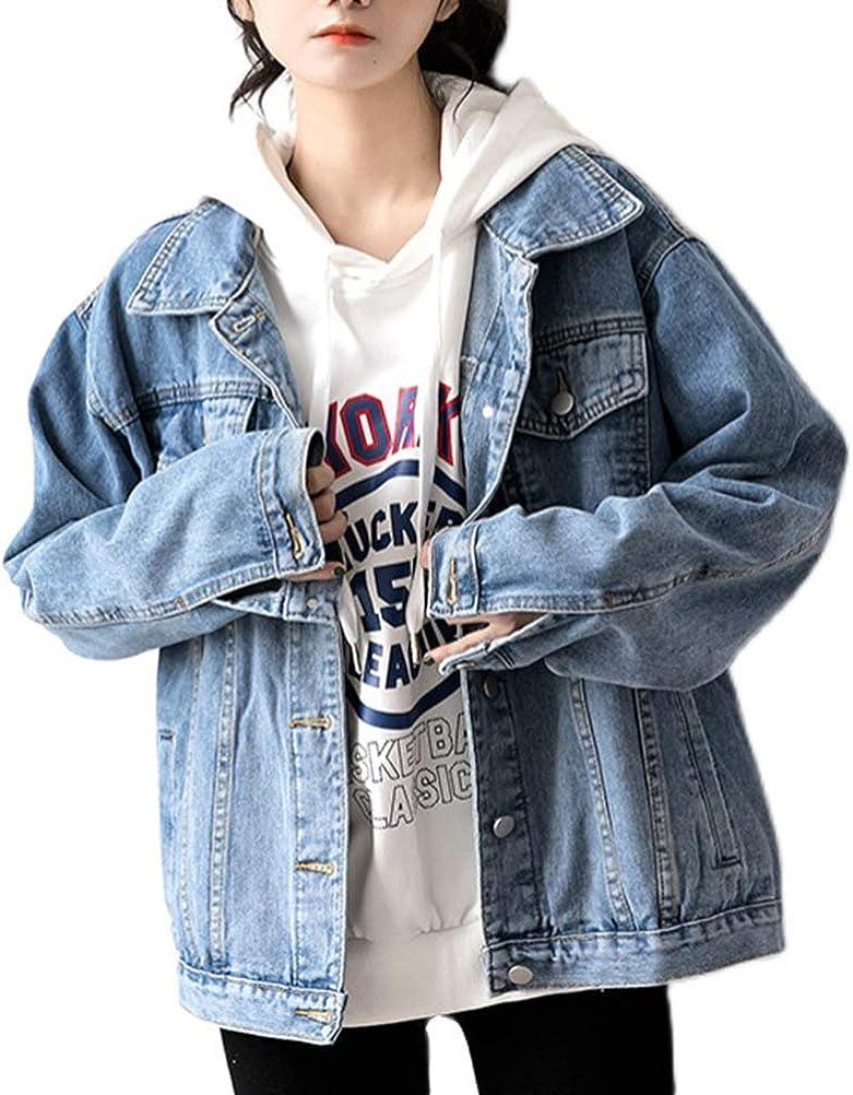 Oversized Denim Jacket Distressed Boyfriend Jean Coat Jeans Trucker Jacket for Women Girls