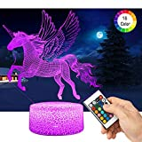 LED Lámpara de Mesa 3D Unicornio con Control Remoto Sensor Tacto, QiLiTd Regulable Lámpara de...