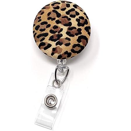 medical animal print security office teacher Leopard heart retractable badge reel