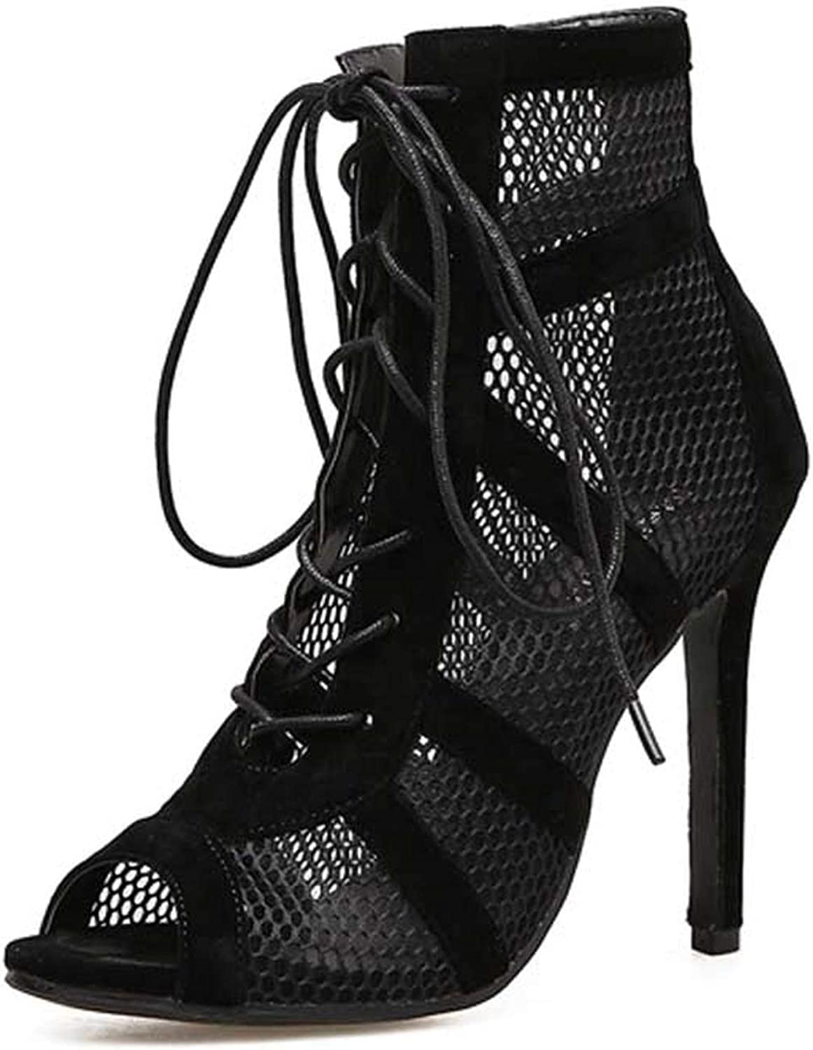 Ches Show Black Net Fabric Cross Strap Sexy high Heel Sandals Woman shoes Pumps Lace-up Peep Toe Sandals