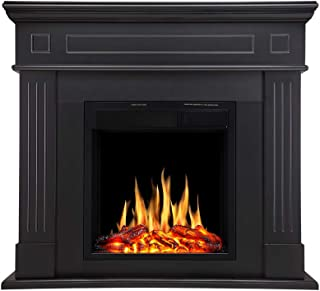 R.W Flame Electric Fireplace Mantel Wooden Surround Firebox Free Standing, Adjustable Led Flame, Remote Control, 750W-1500W (Black)