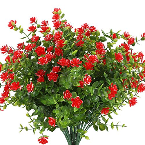 URSTOUD Artificial Flowers, Fake Artificial Greenery UV Resistant No Fade Faux Plastic Plants for Wedding Bridle Bouquet Indoor Outdoor Home Garden Kitchen Office Table Vase 6PCS (Red)