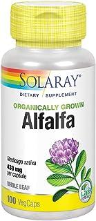 Solaray Organically Grown Alfalfa Leaf 430mg | Vitamin-Rich Superfood w/Fiber & Chlorophyll | Supports Healthy Blood, Kidn...