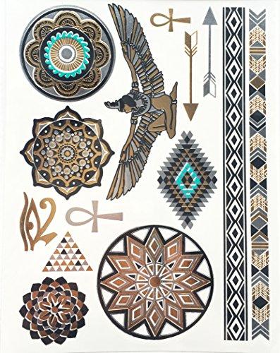 Miya® 1Stück Wild Style Metallic tatuaggio, Flash Tattoos, Tattoo, Oro Nero Argento colori temporanea Gioielli Tattoo per corpo dita braccia, Bracciale collana Flash tatuaggi Body Tattoo, forma 21