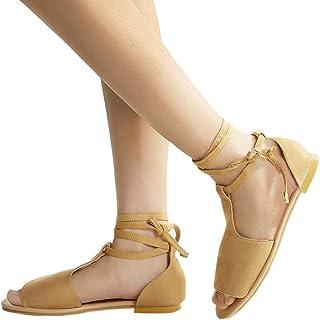 Sandalias de Mujer Shybuy para Mujer, Chica de Verano, con Venda de Peeptoe, Sandalias de Playa de Roma, Casual, Zapatos de Sandalias Planas