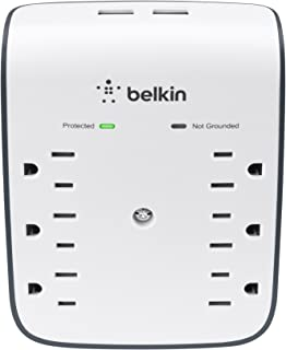 Belkin BSV602tt 6-Outlet USB Surge Protector w/ Wall Mount - Ideal for Mobile Devices, Personal Electronics, Small Appliances and More (900 Joules)