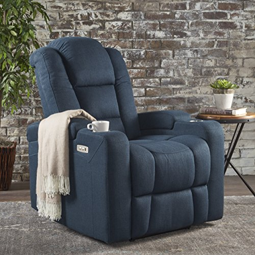 Christopher Knight Home Emersyn Tufted Fabric Power Recliner with Arm Storage and USB Cord, Navy Blue / Black
