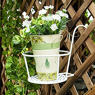 Chris-Wang 1Pcs Over the Rail Hanging Flower Pot Holder Round Metal Wire Balcony Flowerpot Holder Railings Wall Style(White)