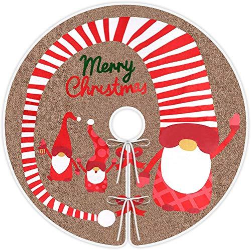 YSSMAO 48 Pulgadas arpillera árbol de Navidad Falda arpillera Navidad árbol Envoltura con Sueco Santa gnomo para...