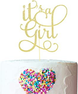 Baby Gender Reveal for It's A Girl Cake Topper - Gold Glitter Cake Topper for Party, Decoration for Cake Topper, girl Sign Cake Flag,Photo Booth Props , (It's A Girl Cake Topper)