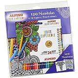 Kit Alpino Mandala Color Experience - Libro 120 Mandalas para Colorear + Estuche con 24 Lapices de Colores - Lapices Premium para Mandalas - Colores Vivos y Brillantes, Mina Resistente