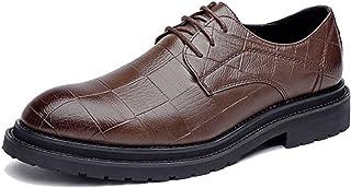 HCP-MX Zapatos de Cuero de la PU de los Hombres Zapatos de Cordones clásicos con Textura Cuadrada Strong Outsole Outsole.