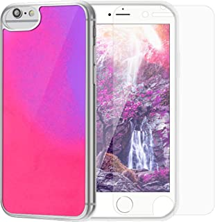 SANLEAD Phone Case for iPhone,Luxury Luminous Glow in the Darkness Quicksand Noctilucent for iPhone X/Xs Anti-Scratch Shockproof Wireless Charging TPU Protect Case with Screen Protector(Pink & Purple)