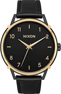 NIXON Arrow Leather A1091 - Gold/Black/Cage - 50 Meter / 5 ATM Water Resistant Women's Analog Classic Watch (38mm Watch Face, 17.5mm Leather Band)