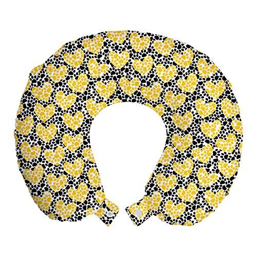 ABAKUHAUS Hearts Reiskussen, Sporen van de hond pootafdrukken, Reisaccessoire met Geheugenschuim voor Vliegtuig en Auto, 30 cm x 30 cm, geel Grijs