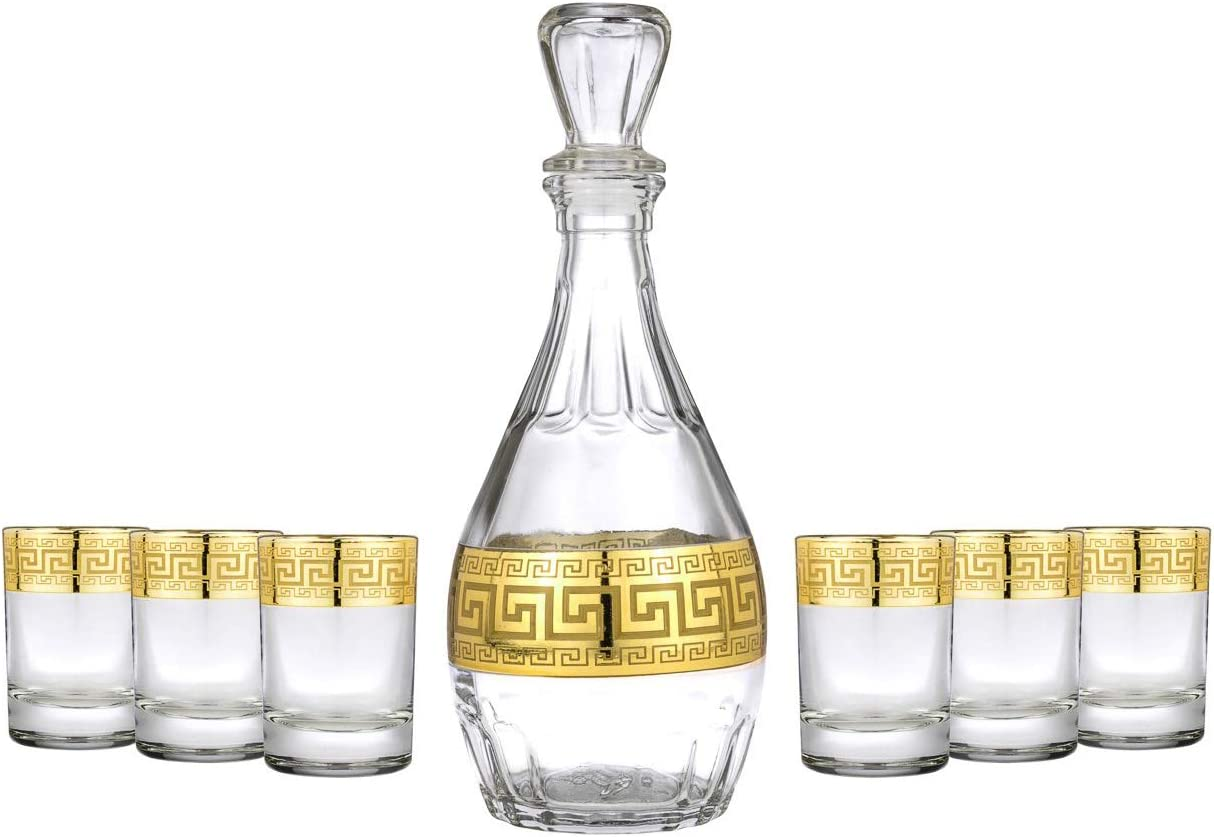 Crystal Decanter and 6 Liquor Glasses Gold Ranking TOP19 8-pc Drinkware We OFFer at cheap prices S 24K