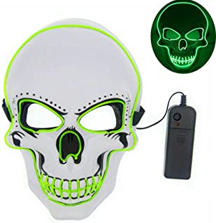 Tagital Halloween Mask LED Light Up Scary Skull Mask Costume Cosplay EL Wire Halloween Party