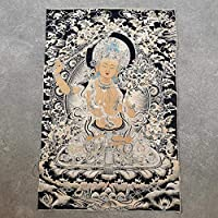 """ポスター 35""""Thangka刺繍チベット仏教絹刺繍Brocadeネパール刀BODHISATTVA MANJUSHRI BUDSHA像Tangkas SGSJP"""