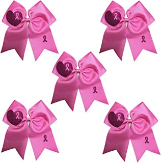 CN 7 Inch Breast Cancer Awareness Cheerleader Bow Large Hair Bow With Ponytail Holder Hair Band For Breast Cancer Month