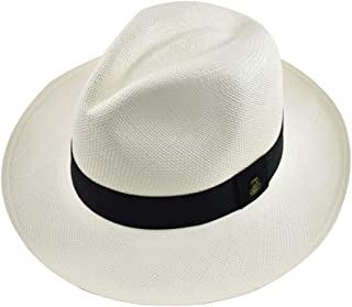 Original Panama Hat - White Classic Fedora - Black Band - Toquilla Straw -  Handwoven in e2871ce727e6