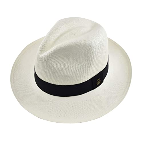 492e7c7f464 Original Panama Hat - White Classic Fedora - Black Band - Toquilla Straw -  Handwoven in