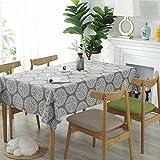 Meiosuns Grey Retro Tischdecke Rechteckige Tischdecke Baumwolle Leinen Tischdecke Geeignet für Home Küche Dekoration, Verschiedene Größen (130x180cm) - 2