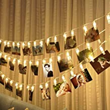 TRIXES 20 String LED Photo Clip Lights - 2m - Warm White - Clear Peg Design - Battery Operated